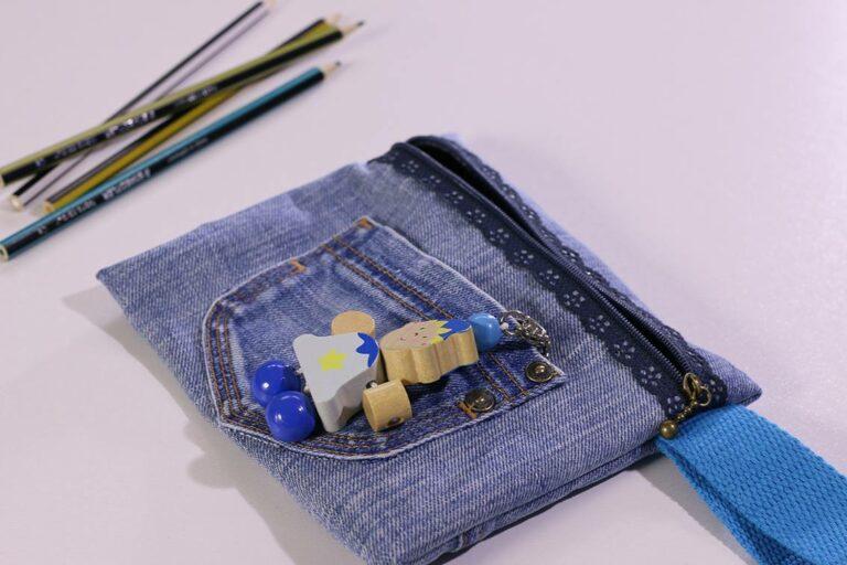 Cartuchera hecha con jeans / Cartuchera con zíper de encaje